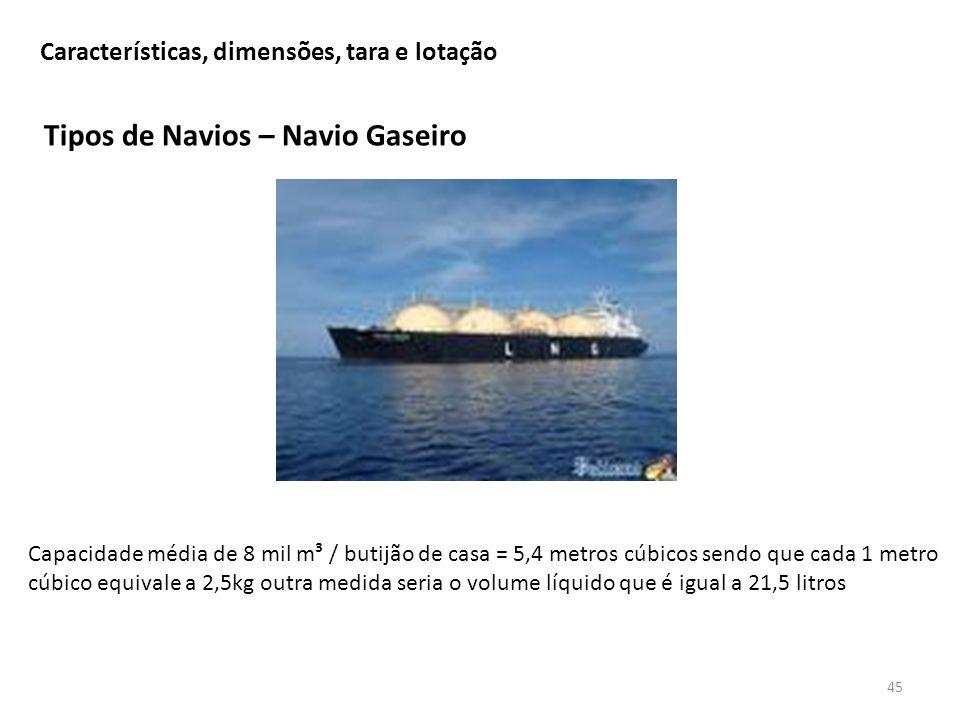 Tipos de Navios – Navio Gaseiro 45 Características, dimensões, tara e lotação Capacidade média de 8 mil m³ / butijão de casa = 5,4 metros cúbicos send