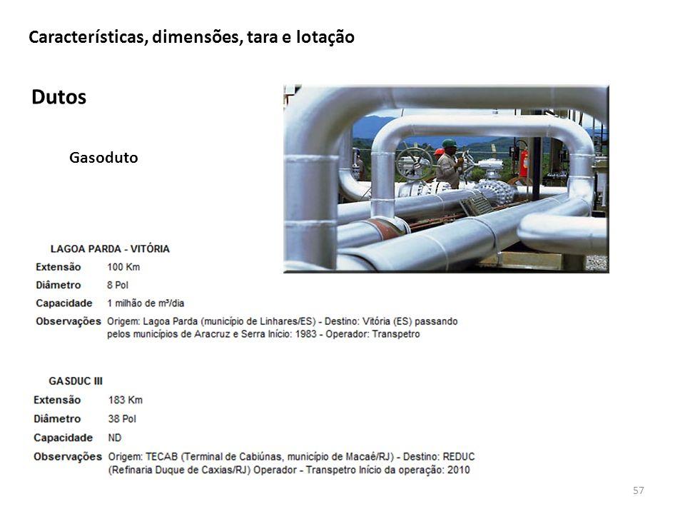 Dutos 57 Características, dimensões, tara e lotação Gasoduto