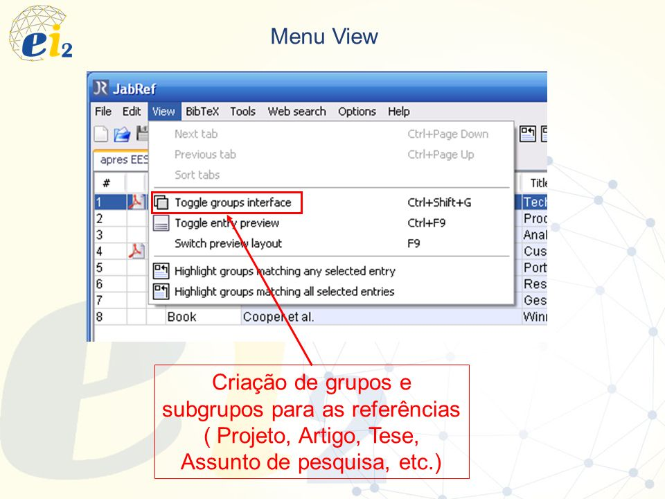 Menu View Criação de grupos e subgrupos para as referências ( Projeto, Artigo, Tese, Assunto de pesquisa, etc.)