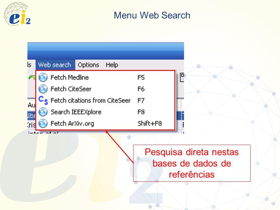 Menu Web Search Pesquisa direta nestas bases de dados de referências