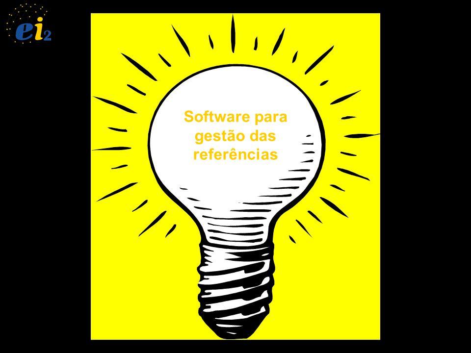 Menu File Criar nova base de dados de referências Salvar base de dadosImportar referência de BD externa (compendex, science direct, etc...) Exportar referência no estilo e formato desejado (Bibtex, RTF...) e (ABNT, EESC...)