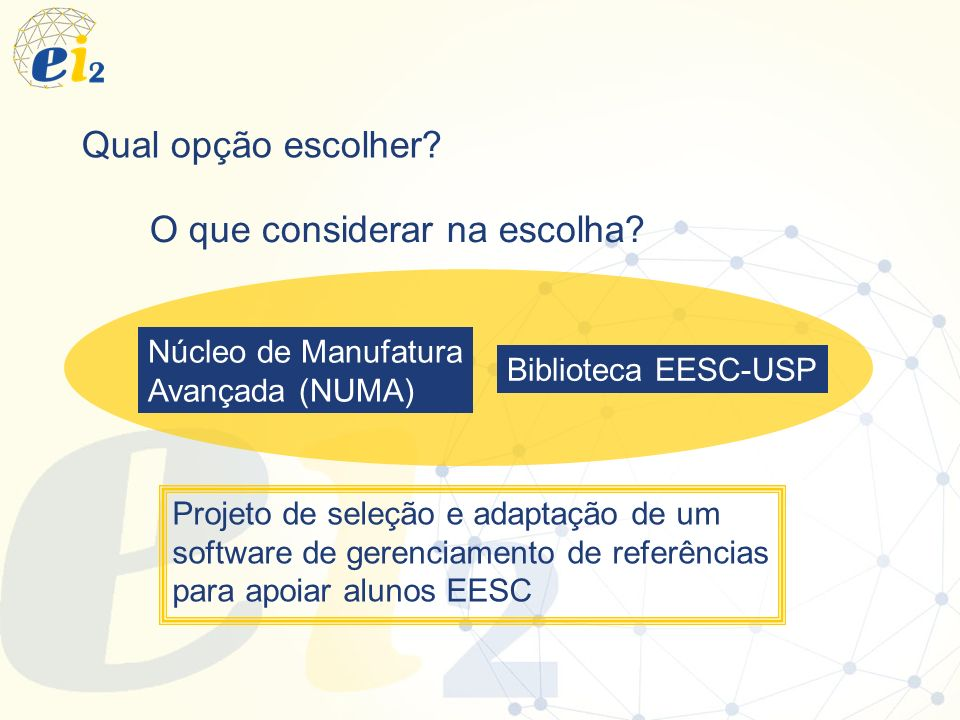 Qual opção escolher? O que considerar na escolha? Biblioteca EESC-USP Núcleo de Manufatura Avançada (NUMA) Projeto de seleção e adaptação de um softwa