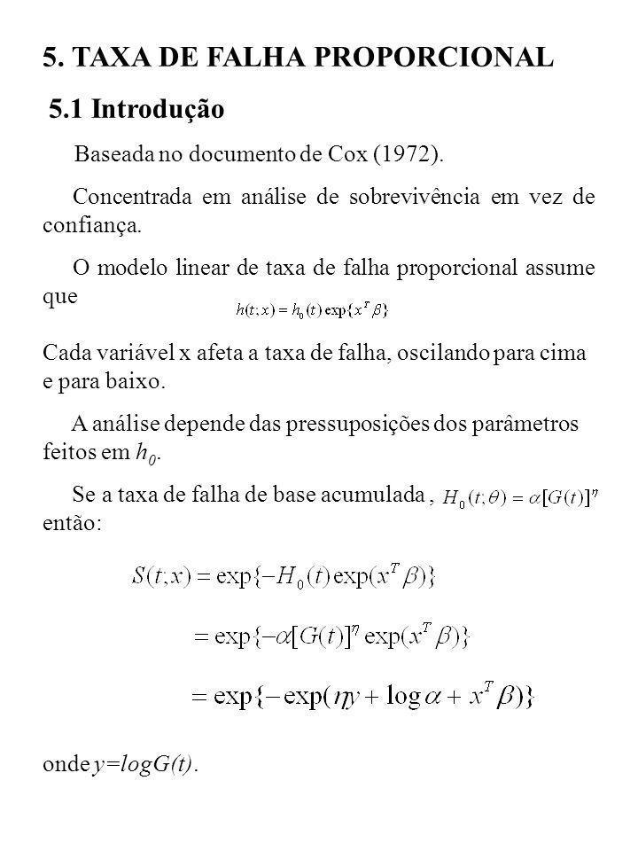 5. TAXA DE FALHA PROPORCIONAL 5.1 Introdução Baseada no documento de Cox (1972). Concentrada em análise de sobrevivência em vez de confiança. O modelo