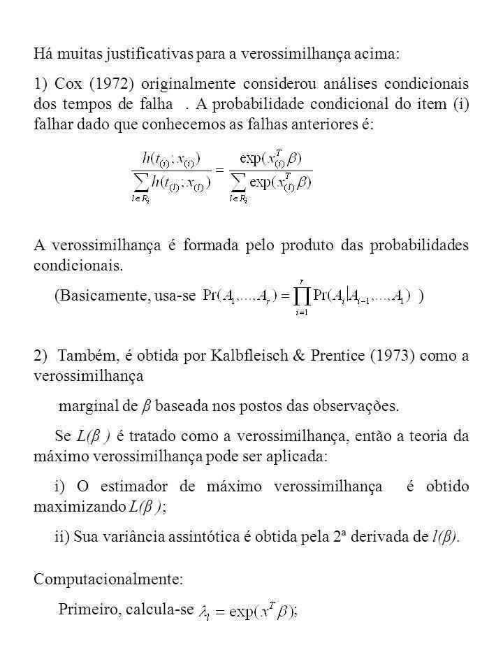 Há muitas justificativas para a verossimilhança acima: 1) Cox (1972) originalmente considerou análises condicionais dos tempos de falha. A probabilida