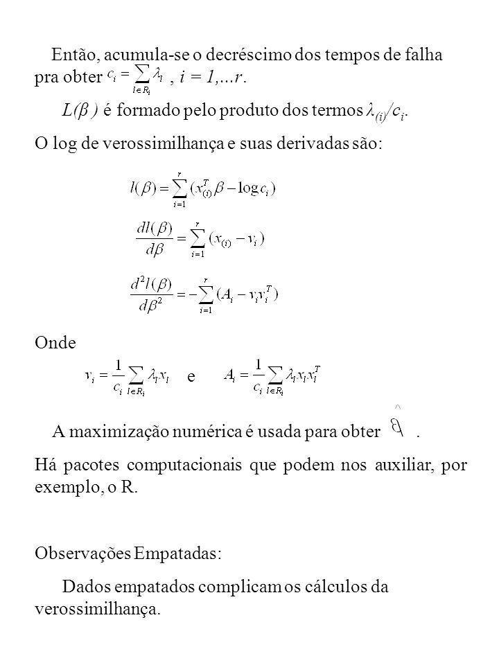 Então, acumula-se o decréscimo dos tempos de falha pra obter, i = 1,...r. L(β ) é formado pelo produto dos termos λ (i) /c i. O log de verossimilhança