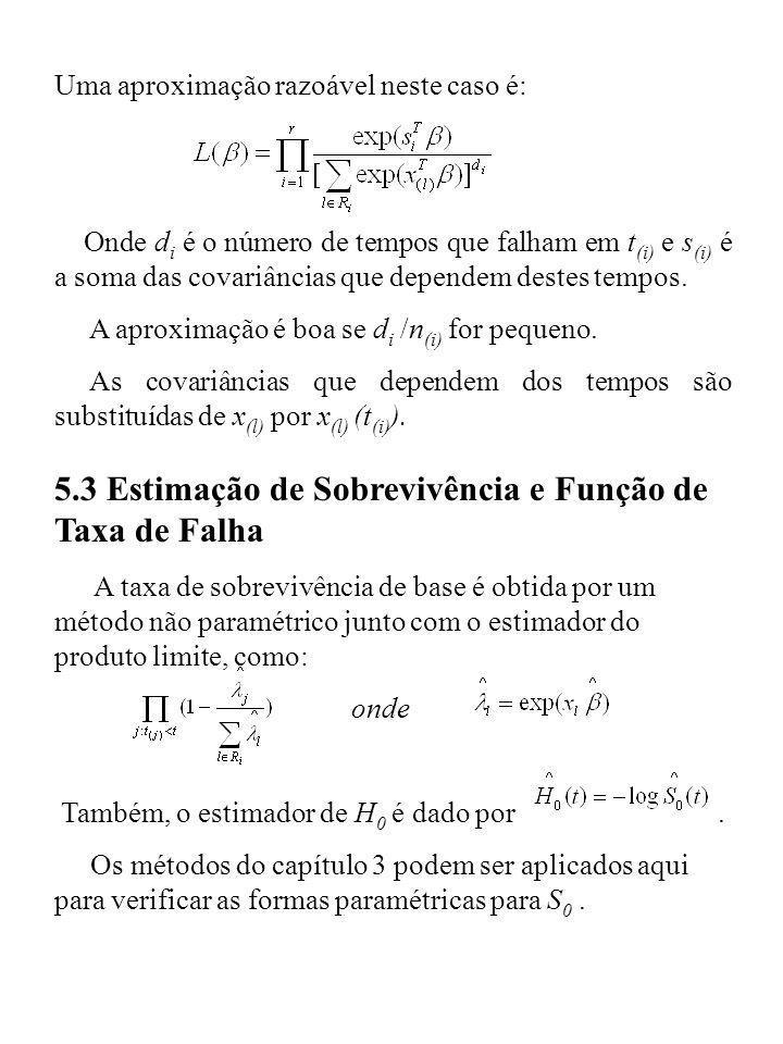 Uma aproximação razoável neste caso é: Onde d i é o número de tempos que falham em t (i) e s (i) é a soma das covariâncias que dependem destes tempos.