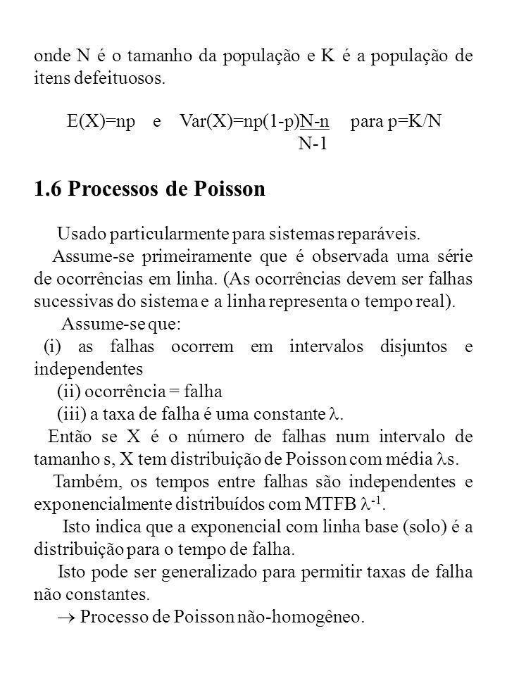 onde N é o tamanho da população e K é a população de itens defeituosos. E(X)=np e Var(X)=np(1-p)N-n para p=K/N N-1 1.6 Processos de Poisson Usado part