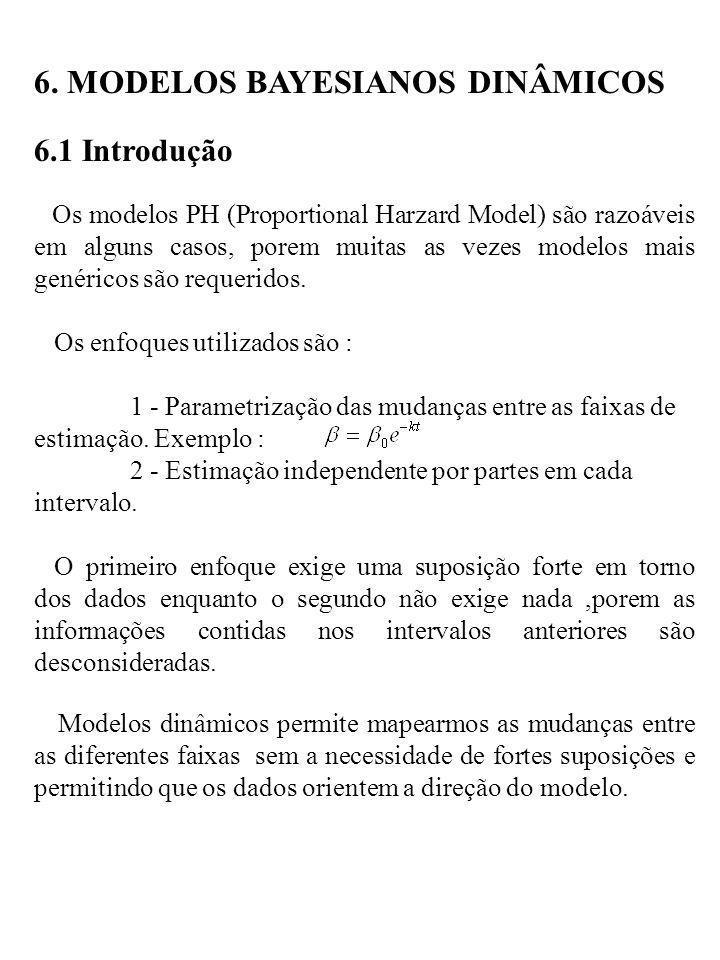 6. MODELOS BAYESIANOS DINÂMICOS 6.1 Introdução Os modelos PH (Proportional Harzard Model) são razoáveis em alguns casos, porem muitas as vezes modelos