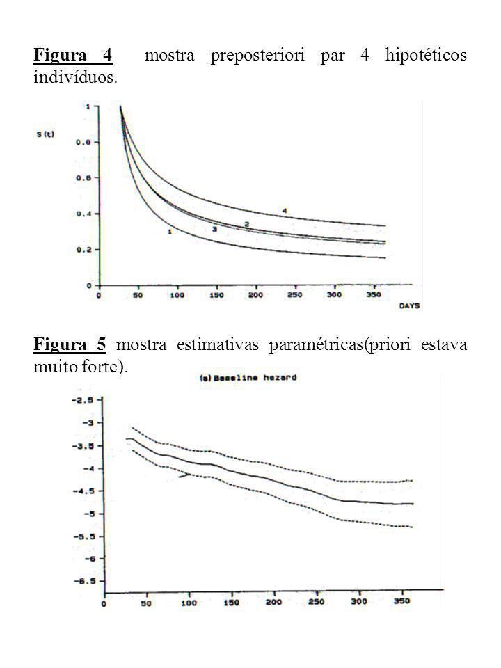 Figura 4 mostra preposteriori par 4 hipotéticos indivíduos. Figura 5 mostra estimativas paramétricas(priori estava muito forte).
