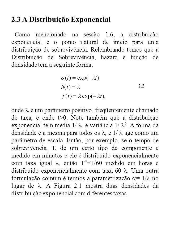 2.3 A Distribuição Exponencial Como mencionado na sessão 1.6, a distribuição exponencial é o ponto natural de início para uma distribuição de sobreviv