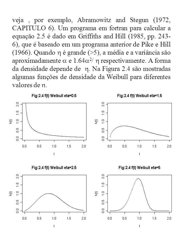 veja, por exemplo, Abramowitz and Stegun (1972, CAPITULO 6). Um programa em fortran para calcular a equação 2.5 é dado em Griffiths and Hill (1985, pp