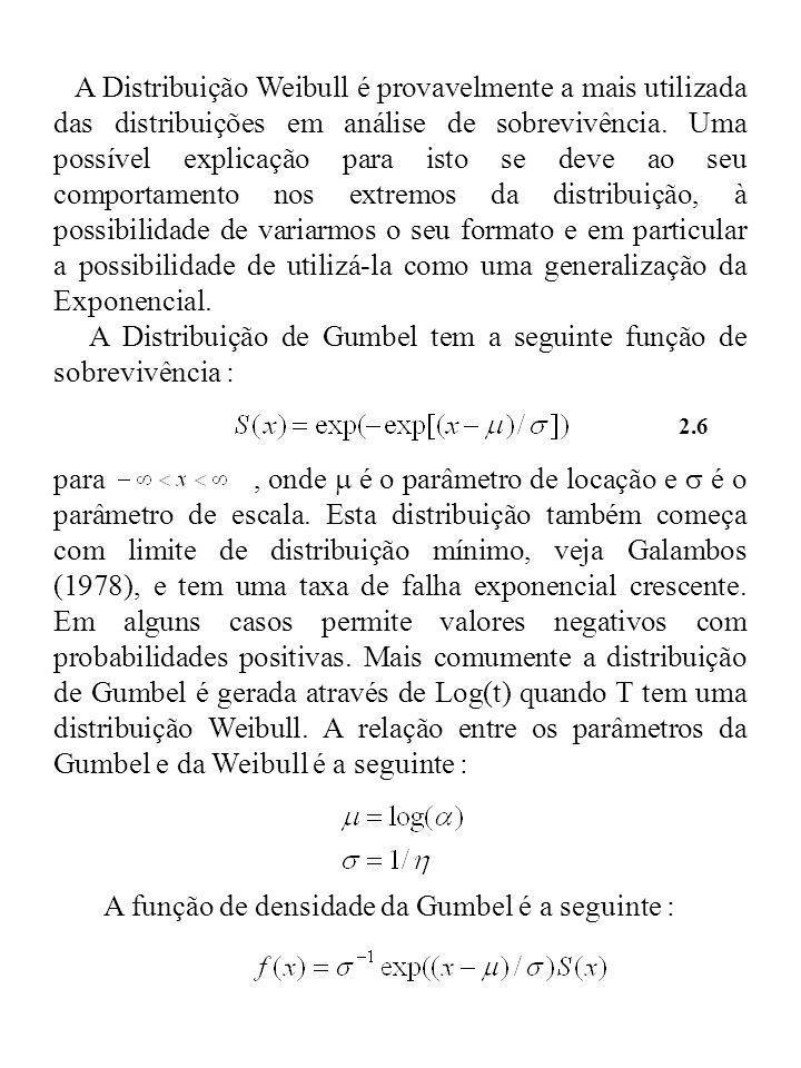 A Distribuição Weibull é provavelmente a mais utilizada das distribuições em análise de sobrevivência. Uma possível explicação para isto se deve ao se