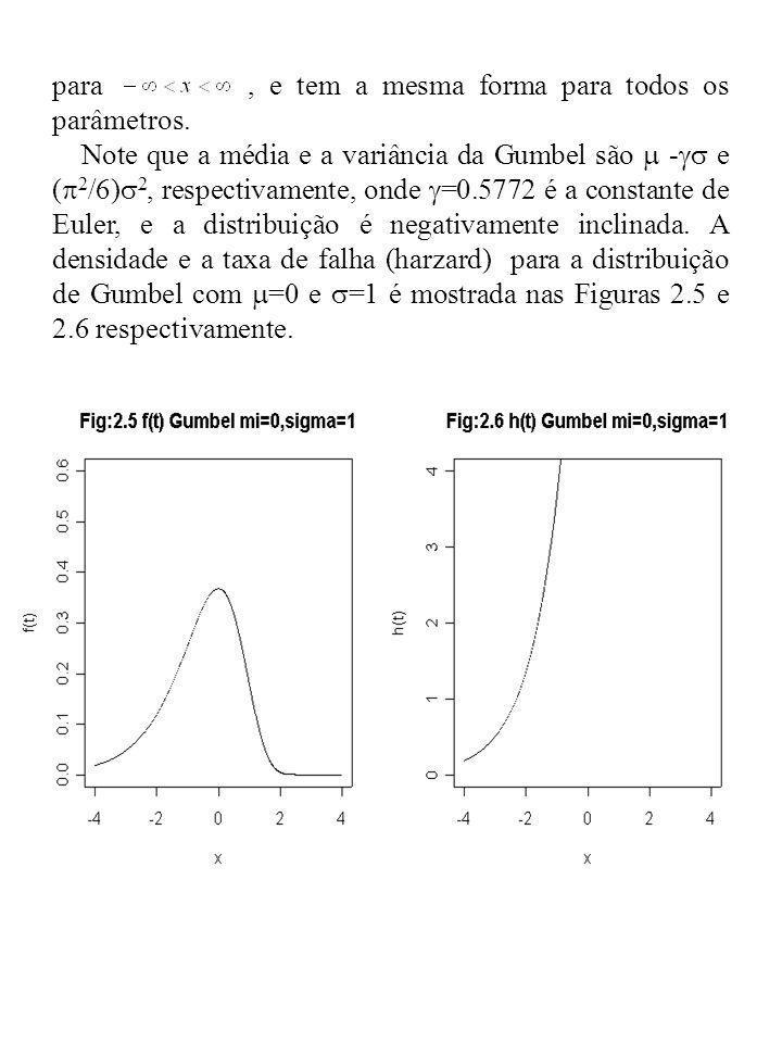 para, e tem a mesma forma para todos os parâmetros. Note que a média e a variância da Gumbel são - e ( 2 /6) 2, respectivamente, onde =0.5772 é a cons