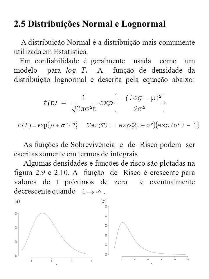 2.5 Distribuições Normal e Lognormal A distribuição Normal é a distribuição mais comumente utilizada em Estatística. Em confiabilidade é geralmente us