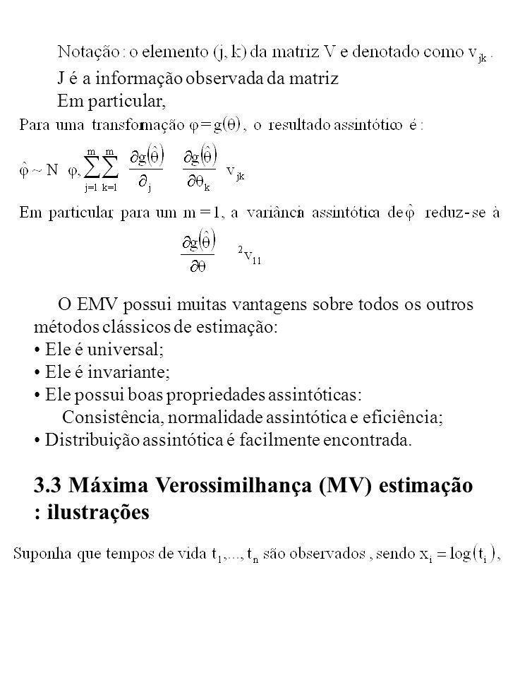 J é a informação observada da matriz Em particular, O EMV possui muitas vantagens sobre todos os outros métodos clássicos de estimação: Ele é universa