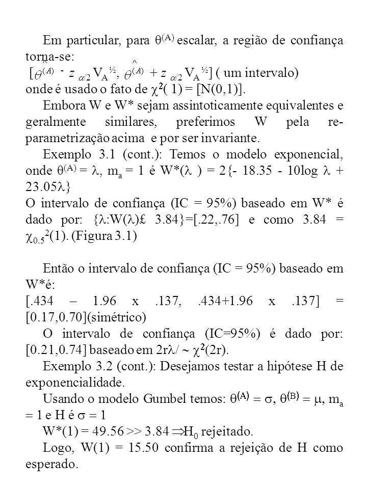 Em particular, para θ (A) escalar, a região de confiança torna-se: [ - z /2 V A ½, + z /2 V A ½ ] ( um intervalo) onde é usado o fato de ( 1) = [N(0,1