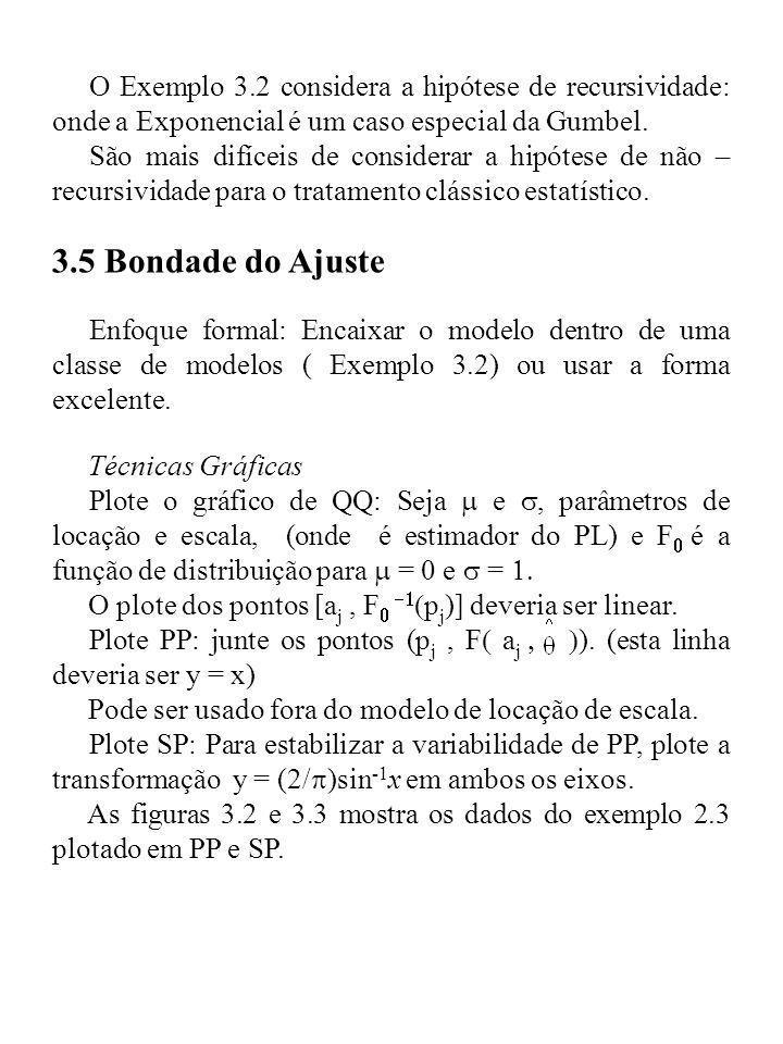 O Exemplo 3.2 considera a hipótese de recursividade: onde a Exponencial é um caso especial da Gumbel. São mais difíceis de considerar a hipótese de nã