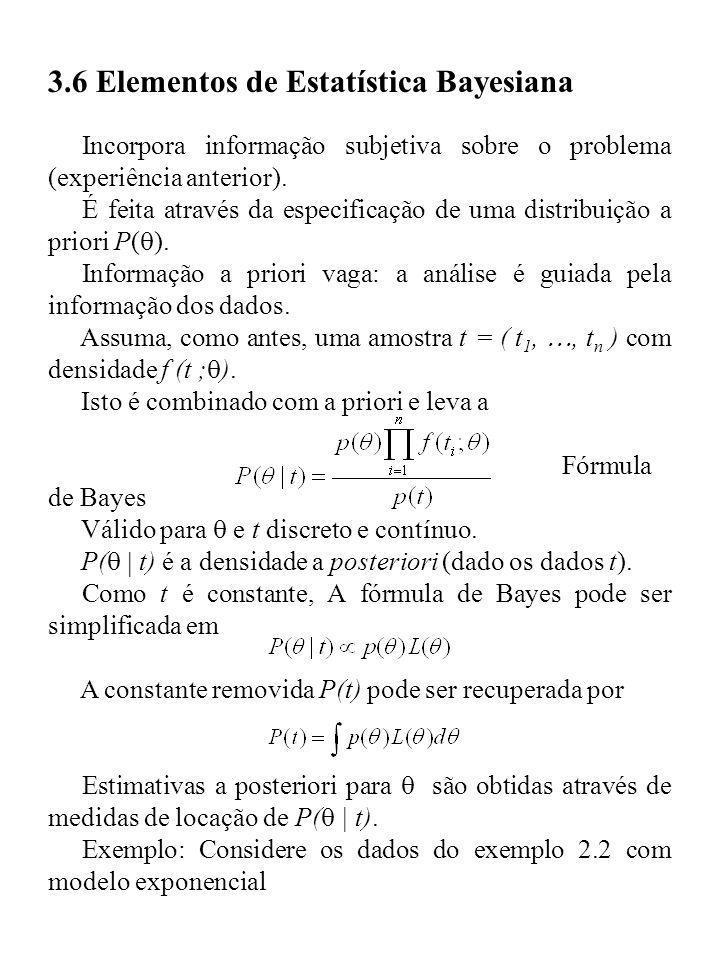 3.6 Elementos de Estatística Bayesiana Incorpora informação subjetiva sobre o problema (experiência anterior). É feita através da especificação de uma