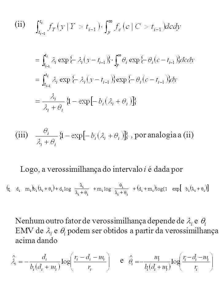 (ii) (iii), por analogia a (ii) Logo, a verossimilhança do intervalo i é dada por Nenhum outro fator de verossimilhança depende de i e i EMV de i e i