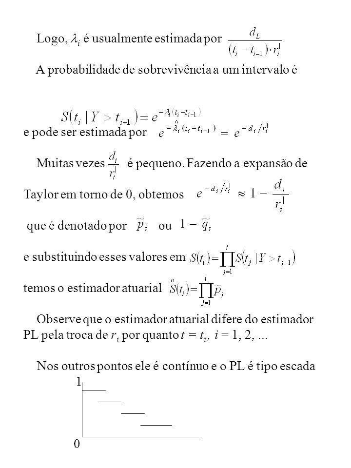 Logo, i é usualmente estimada por A probabilidade de sobrevivência a um intervalo é e pode ser estimada por Muitas vezes é pequeno. Fazendo a expansão