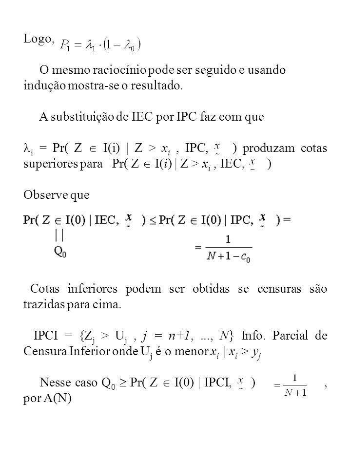 Logo, O mesmo raciocínio pode ser seguido e usando indução mostra-se o resultado. A substituição de IEC por IPC faz com que i = Pr( Z I(i) | Z > x i,