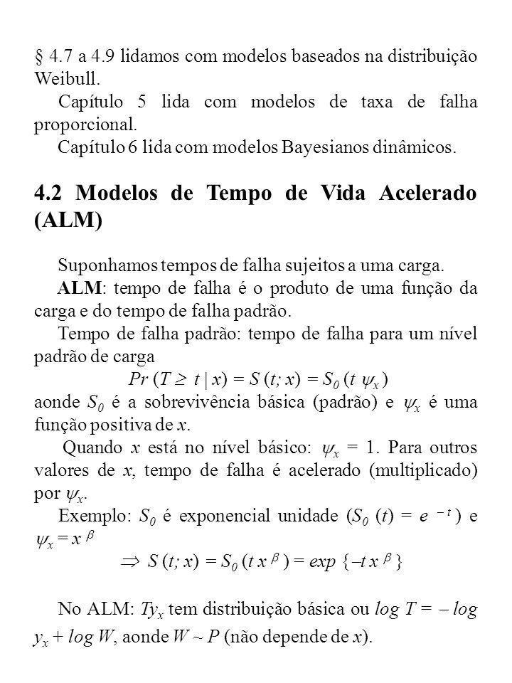 § 4.7 a 4.9 lidamos com modelos baseados na distribuição Weibull. Capítulo 5 lida com modelos de taxa de falha proporcional. Capítulo 6 lida com model