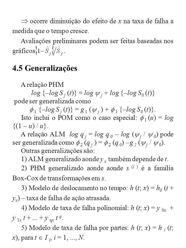 ocorre diminuição do efeito de x na taxa de falha a medida que o tempo cresce. Avaliações preliminares podem ser feitas baseadas nos gráficos. 4.5 Gen
