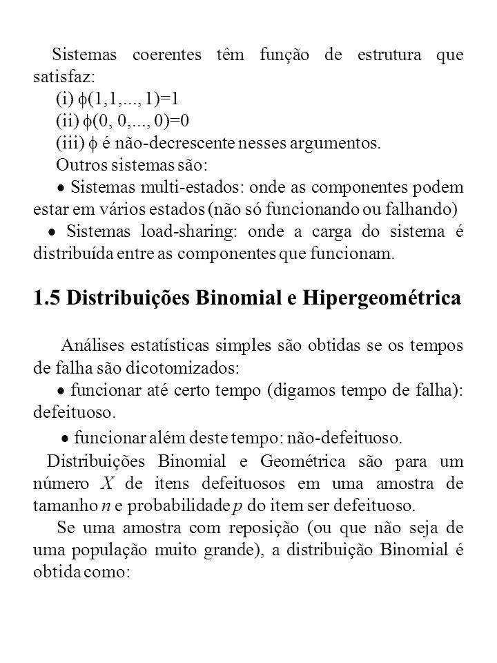 Sistemas coerentes têm função de estrutura que satisfaz: (i) (1,1,..., 1)=1 (ii) (0, 0,..., 0)=0 (iii) é não-decrescente nesses argumentos. Outros sis