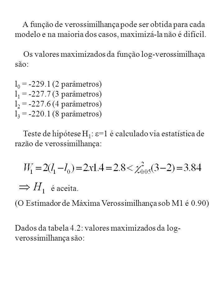 A função de verossimilhança pode ser obtida para cada modelo e na maioria dos casos, maximizá-la não é difícil. Os valores maximizados da função log-v