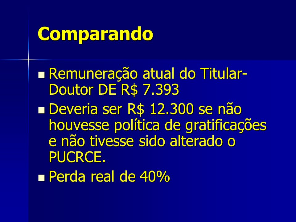 Comparando Remuneração atual do Titular- Doutor DE R$ 7.393 Remuneração atual do Titular- Doutor DE R$ 7.393 Deveria ser R$ 12.300 se não houvesse política de gratificações e não tivesse sido alterado o PUCRCE.