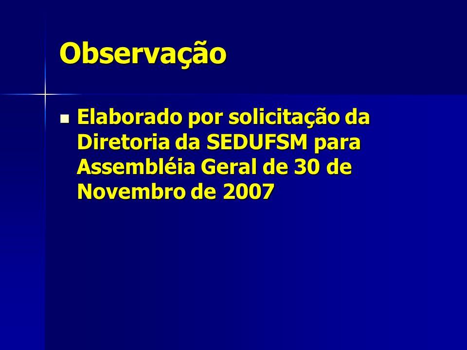 Observação Elaborado por solicitação da Diretoria da SEDUFSM para Assembléia Geral de 30 de Novembro de 2007 Elaborado por solicitação da Diretoria da SEDUFSM para Assembléia Geral de 30 de Novembro de 2007