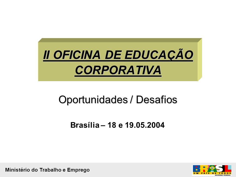 II OFICINA DE EDUCAÇÃO CORPORATIVA Oportunidades / Desafios Brasília – 18 e 19.05.2004 Ministério do Trabalho e Emprego