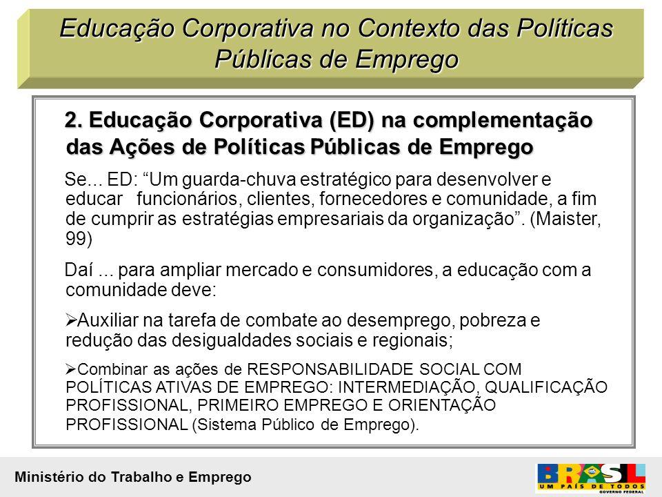 2. Educação Corporativa (ED) na complementação das Ações de Políticas Públicas de Emprego Se... ED: Um guarda-chuva estratégico para desenvolver e edu
