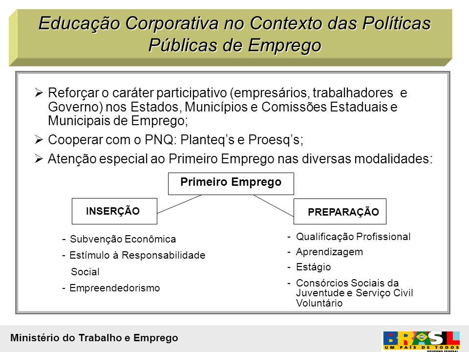 Reforçar o caráter participativo (empresários, trabalhadores e Governo) nos Estados, Municípios e Comissões Estaduais e Municipais de Emprego; Coopera