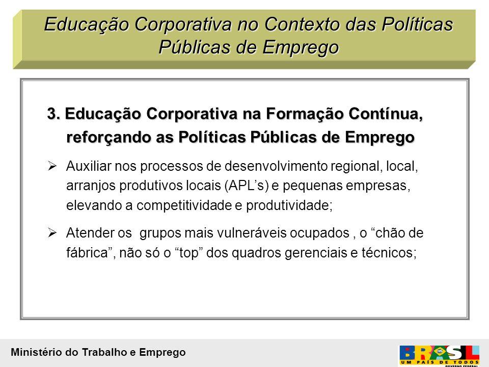 3. Educação Corporativa na Formação Contínua, reforçando as Políticas Públicas de Emprego Auxiliar nos processos de desenvolvimento regional, local, a
