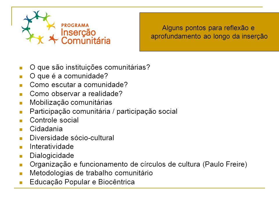 O que são instituições comunitárias? O que é a comunidade? Como escutar a comunidade? Como observar a realidade? Mobilização comunitárias Participação