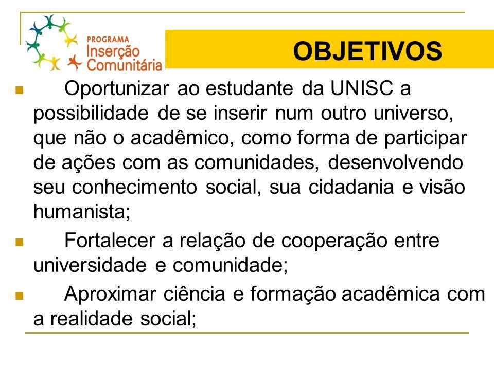 OBJETIVOS Oportunizar ao estudante da UNISC a possibilidade de se inserir num outro universo, que não o acadêmico, como forma de participar de ações c
