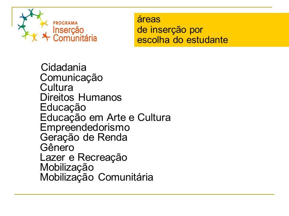 áreas de inserção por escolha do estudante Cidadania Comunicação Cultura Direitos Humanos Educação Educação em Arte e Cultura Empreendedorismo Geração
