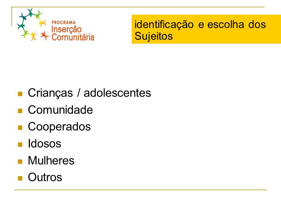 identificação e escolha dos Sujeitos Crianças / adolescentes Comunidade Cooperados Idosos Mulheres Outros