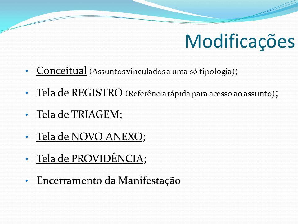 Modificações Conceitual (Assuntos vinculados a uma só tipologia) ; Conceitual Tela de REGISTRO (Referência rápida para acesso ao assunto) ; Tela de RE