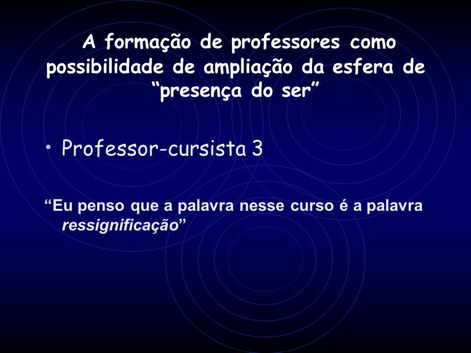 Professor-cursista 3 Eu penso que a palavra nesse curso é a palavra ressignificação A formação de professores como possibilidade de ampliação da esfer