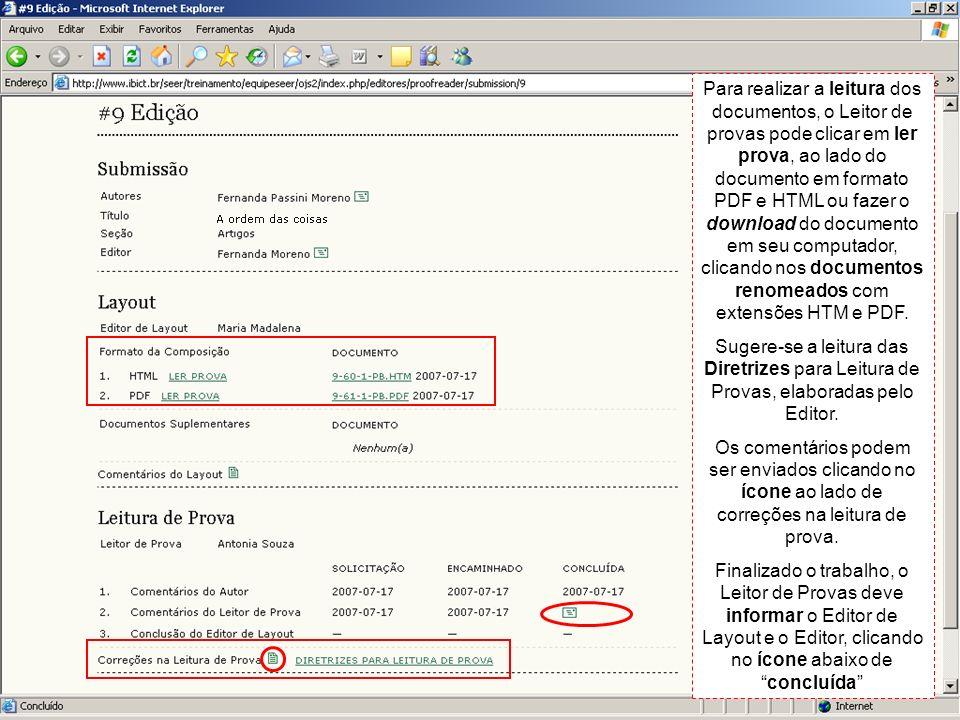 Para realizar a leitura dos documentos, o Leitor de provas pode clicar em ler prova, ao lado do documento em formato PDF e HTML ou fazer o download do