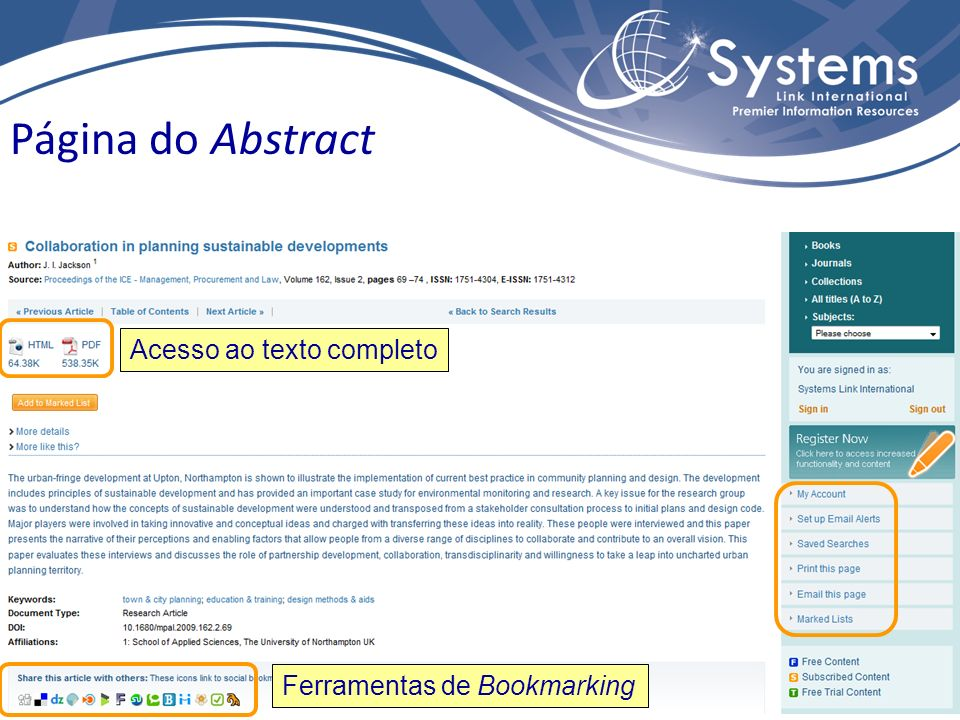 Acesso ao texto completo Ferramentas de Bookmarking Página do Abstract