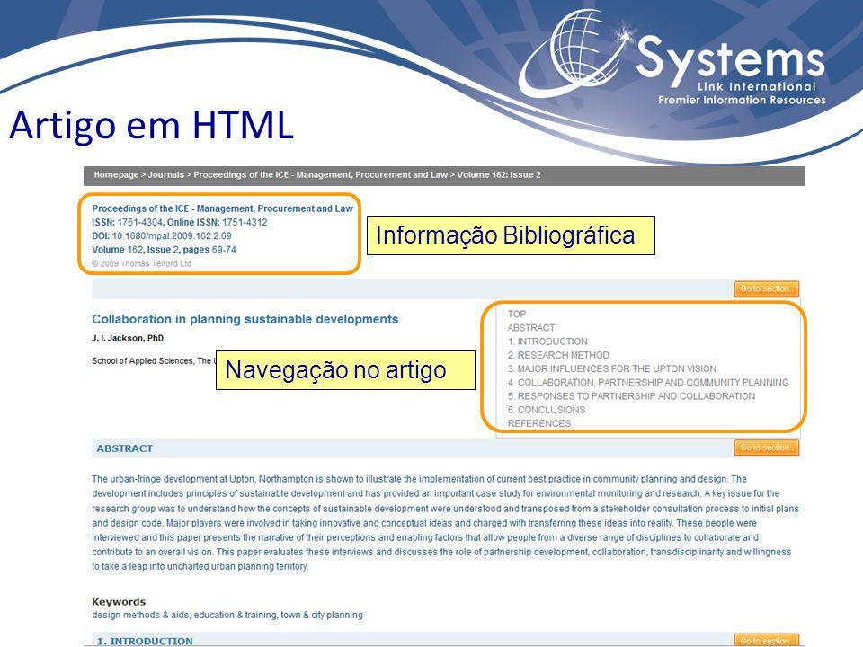 Informação Bibliográfica Navegação no artigo Artigo em HTML