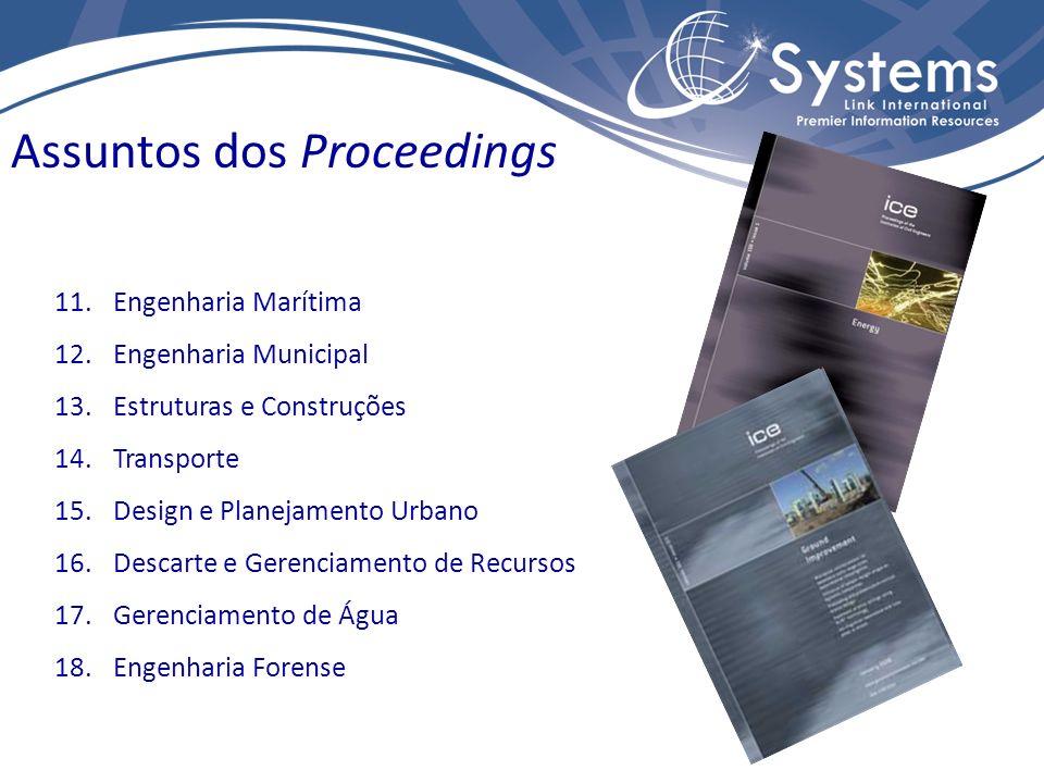 07 títulos na área de Engenharia Civil, em 2011. (1) Journals do ICE