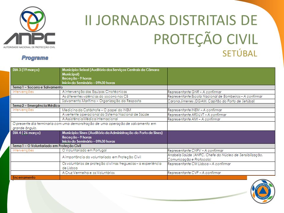 II JORNADAS DISTRITAIS DE PROTEÇÃO CIVIL SETÚBAL