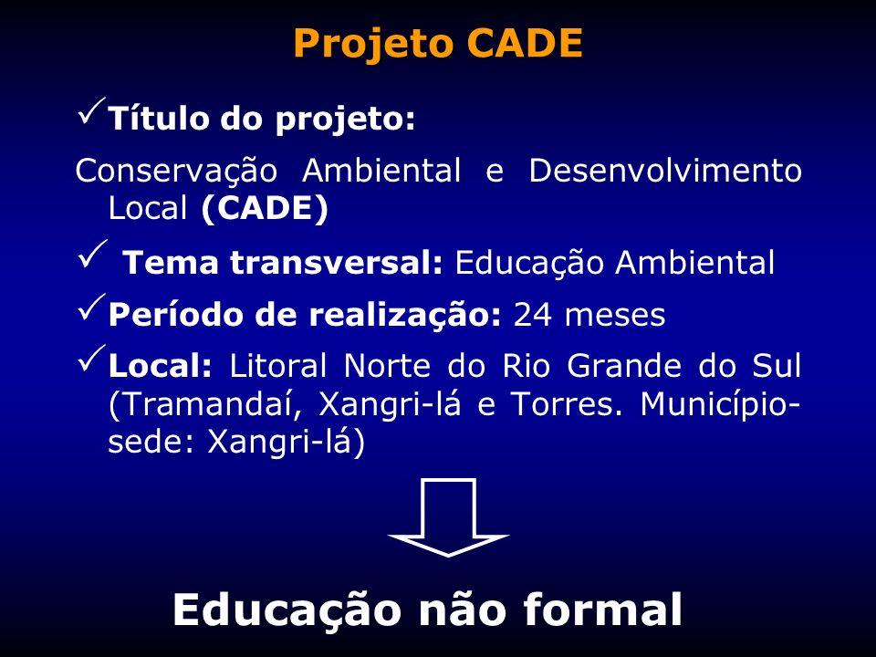 Título do projeto: Conservação Ambiental e Desenvolvimento Local (CADE) Tema transversal: Educação Ambiental Período de realização: 24 meses Local: Li