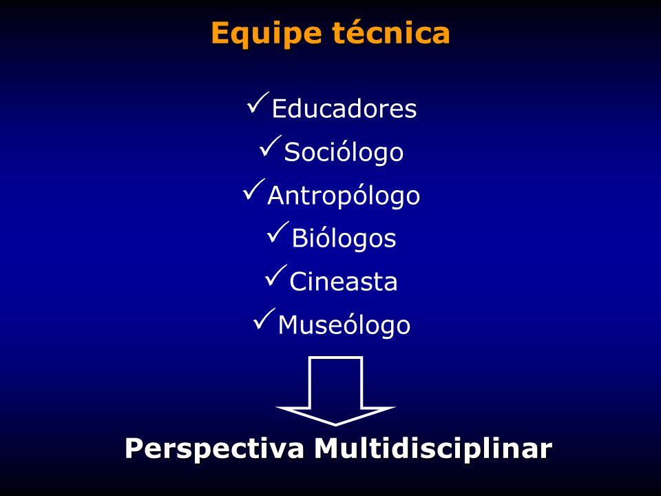 Equipe técnica Educadores Sociólogo Antropólogo Biólogos Cineasta Museólogo Perspectiva Multidisciplinar