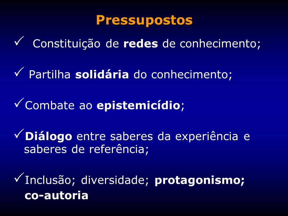 Constituição de redes de conhecimento; Partilha solidária do conhecimento; Combate ao epistemicídio; Diálogo entre saberes da experiência e saberes de