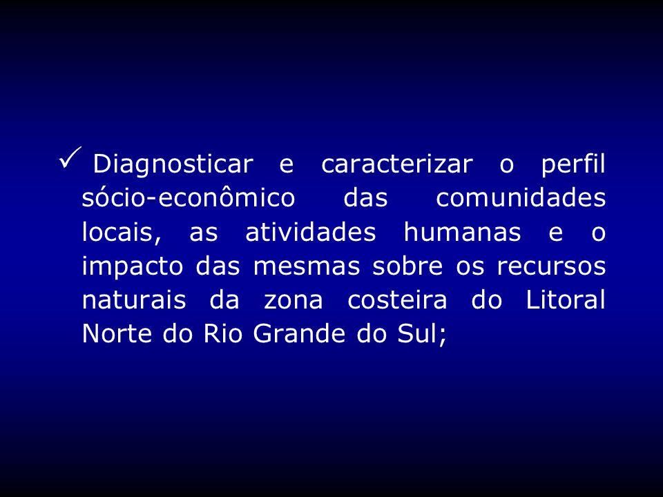 Diagnosticar e caracterizar o perfil sócio-econômico das comunidades locais, as atividades humanas e o impacto das mesmas sobre os recursos naturais d